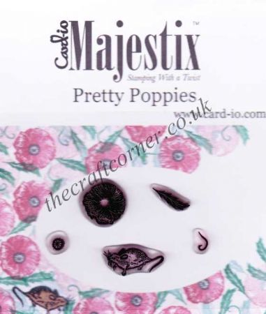 Pretty Poppies & A Tiny Mouse 5 Clear Rubber Stamps by Card-io